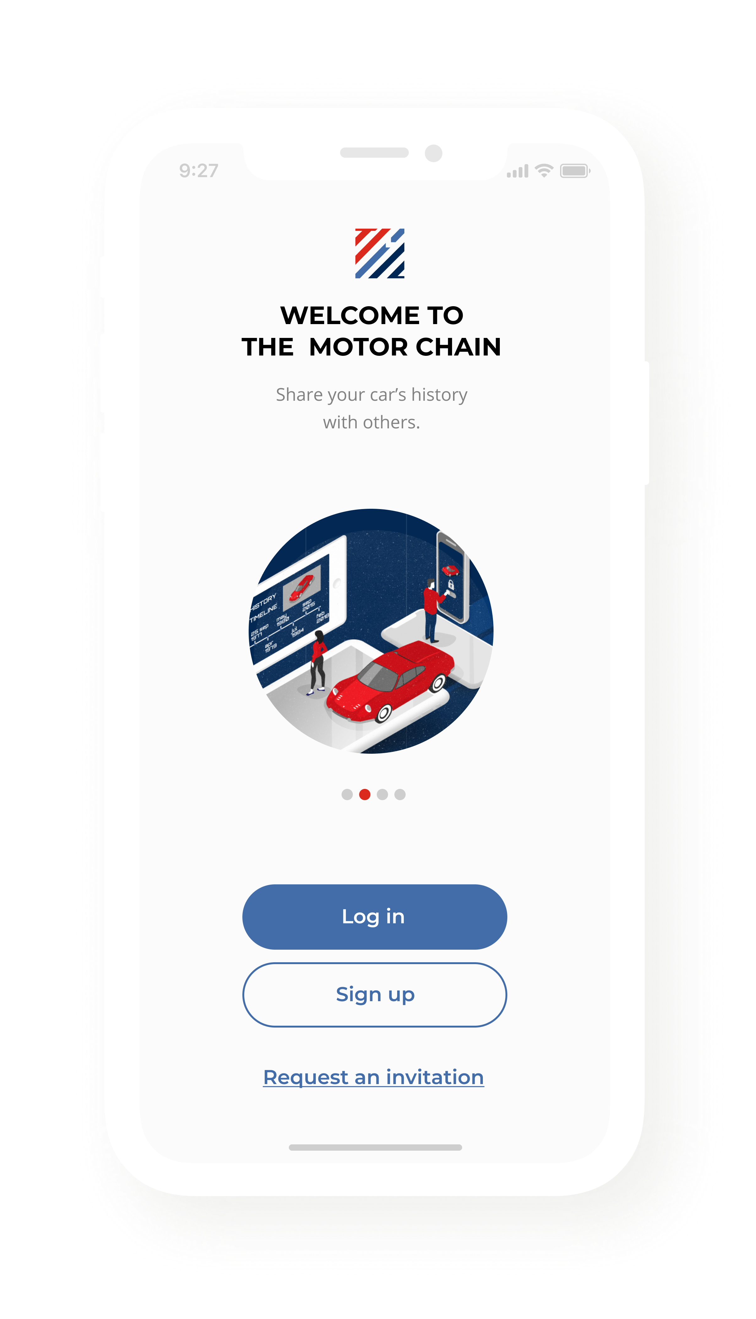 Our clients_Startup The motor chain Detailed view of a mobile application screen_Onboarding process
