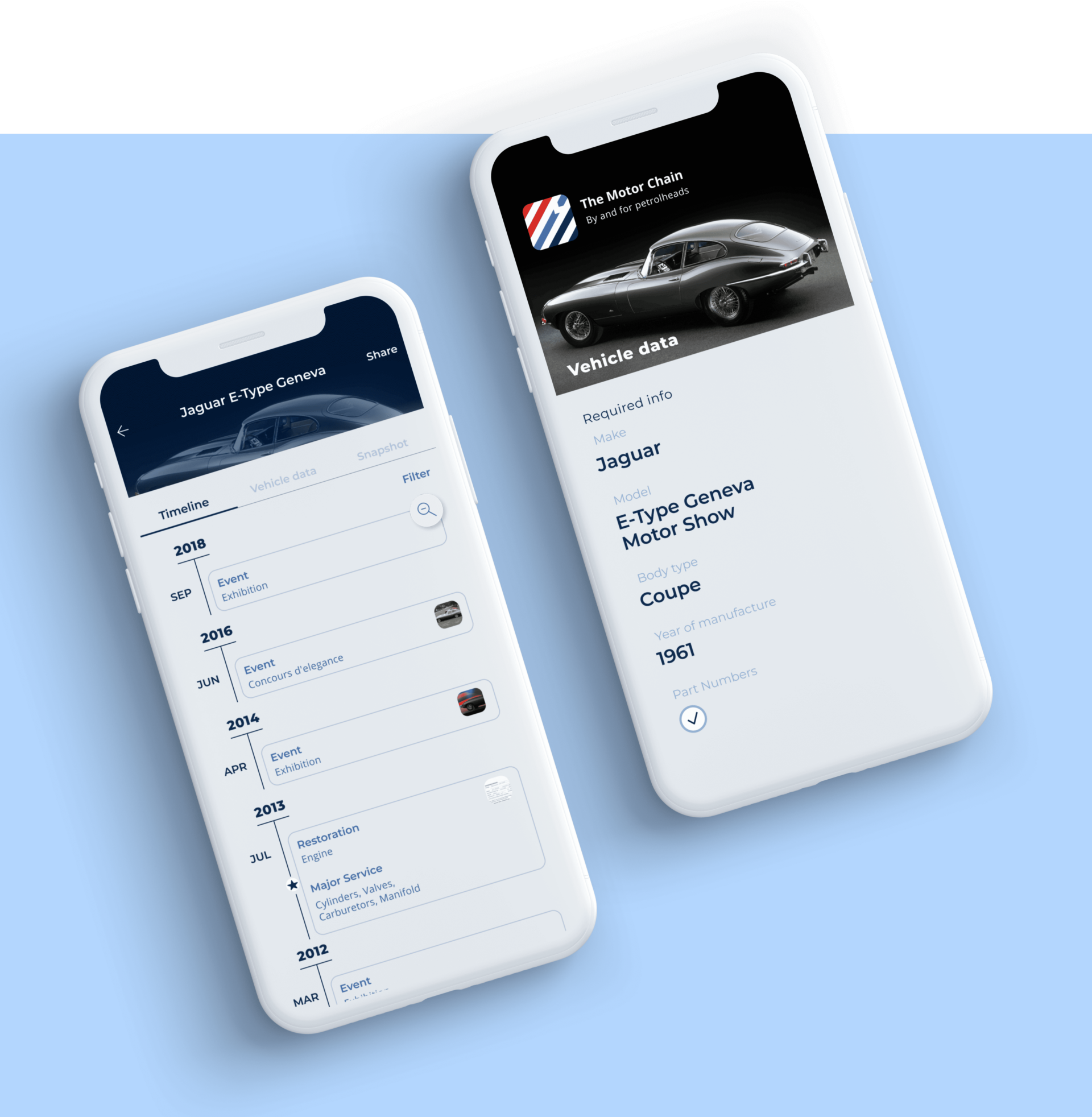 Our clients_Startup The motor chain Detailed view of a mobile application screens Vehicle's Timeline and main data